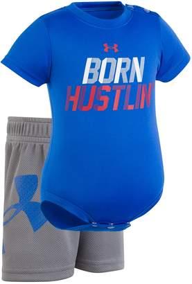 "Under Armour Baby Boy Born Hustlin"" Graphic Bodysuit & Shorts Set"