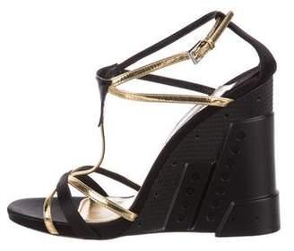 Prada T-Strap Wedge Sandals