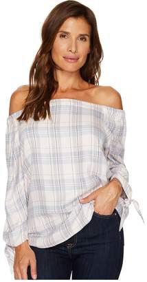 Vince Camuto Off the Shoulder Plaid Daydream Blouse Women's Blouse
