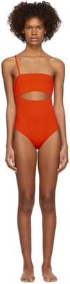Rudi Gernreich Orange Single Strap Hardware One-Piece Swimsuit