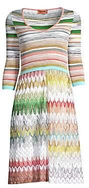 07472a33da Missoni Women s Pinetto Three-Quarter Sleeve Knit A-Line Sweater Dress