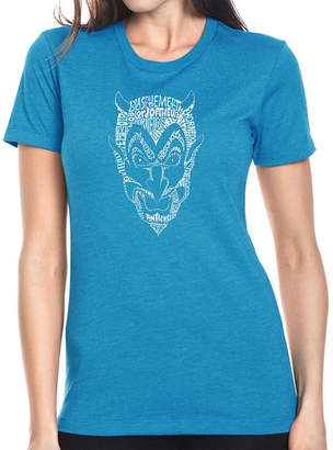 LOS ANGELES POP ART Los Angeles Pop Art Women's Premium Blend Word ArtT-shirt - THE DEVIL'S NAMES