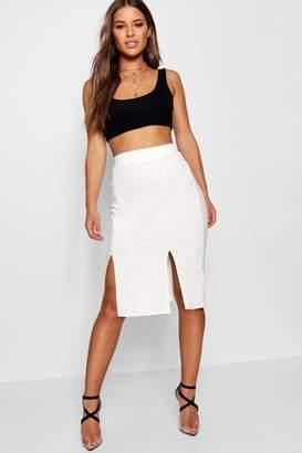 boohoo Petite Double Split Midi Skirt
