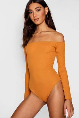boohoo Tall Willow Off The Shoulder Rib Bodysuit