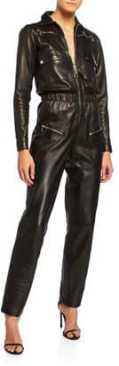 Carolina Ritzler Nakita Leather Utility Pocket Jumpsuit