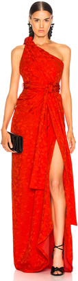 Brandon Maxwell Satin Jacquard One Shoulder Twist Front Gown in Poppy | FWRD