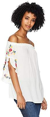Serene Bohemian Women's Flowy Off- Shoulder Top with Flower Embroidery (XL)