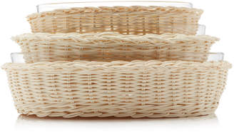 Amanda Lindroth Set-Of-Three Rattan and Glass Serving Dishes