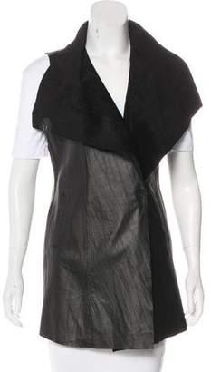 Neiman Marcus Leather Draped Vest