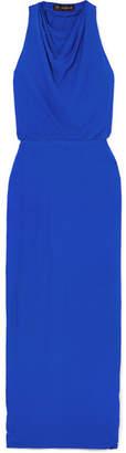 Versace Hooded Crepe Maxi Dress - Blue