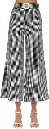 Solid & Striped Poplin Gingham Palazzo Pants
