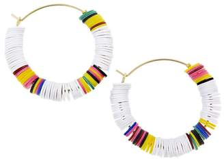 ALLTHEMUST White and Multi-Color Heishi Bead Hoop Earrings - Yellow Gold