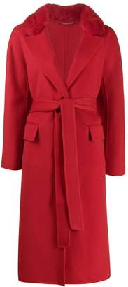 Ermanno Scervino fur collar belted coat