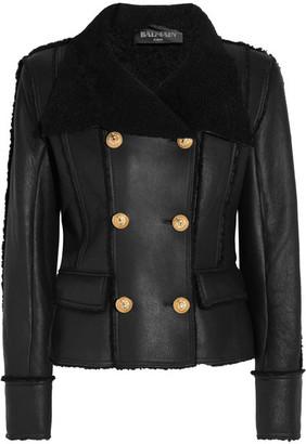 Balmain - Double-breasted Shearling Biker Jacket - Black $5,085 thestylecure.com