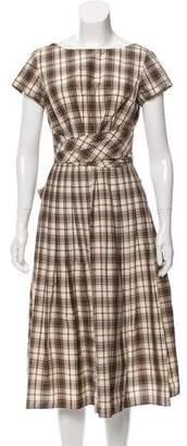 Michael Kors Pleated Plaid Dress