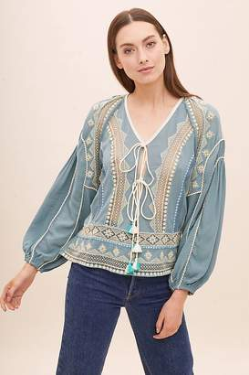 Bl Nk Perrie Embroidered-Peasant Blouse