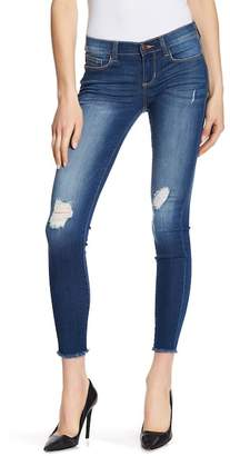 SP Black Low Rise Distressed Raw Edge Skinny Jeans