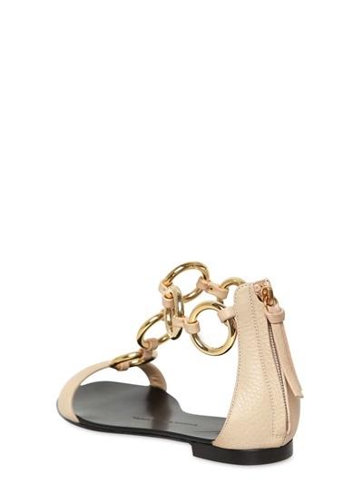 Giuseppe Zanotti 10mm Chained Leather Flats