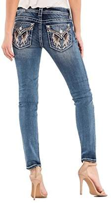 Miss Me Junior's Mid-Rise Skinny Jeans With Wing Back Pockets