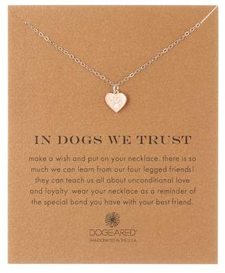 Dogeared Sterling Silver In Dogs We Trust Heart Pendant Necklace