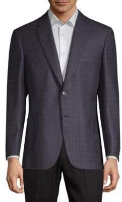 Brioni Grid Wool-Blend Suit Jacket