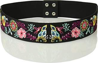 House of Boho Floral Back Stretch 100% Leather Belt