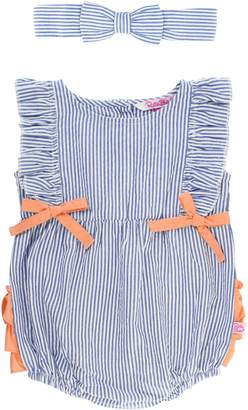 7da4dad41b9 RuffleButts Stripe Bubble Romper   Head Wrap Set