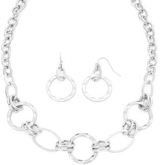 Liz Claiborne Hammered Silver Necklace & Earrings Set