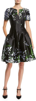 Oscar de la Renta Short-Sleeve Split-Neck Fit-and-Flare Floral-Embroidered Dress
