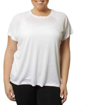 Freeze Women's Plus Poly Rayon Drapey High Low Roll Sleeve T-Shirt