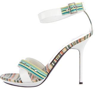 Casadei Striped Ankle Strap Sandals $65 thestylecure.com