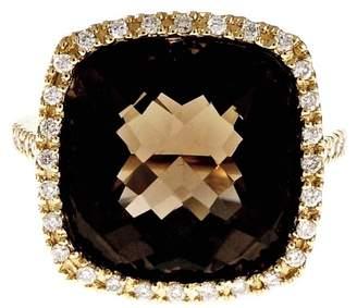14K Yellow Gold Diamond Halo Smoky Quartz Ring Size 6.75