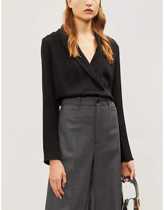 Theory Shawl-collar silk-crepe blouse