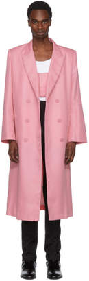 Helmut Lang Pink Double-Breasted Coat