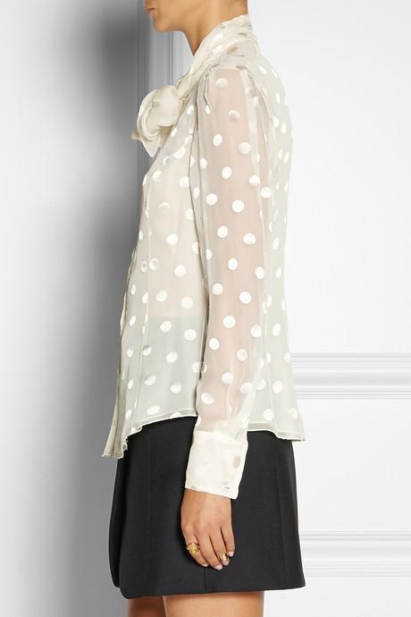 Jason Wu Polka-dot jacquard silk-blend chiffon blouse