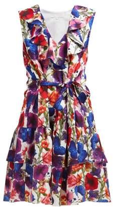 Borgo de Nor Carla Venus Shell Print Crepe Mini Dress - Womens - Ivory Multi