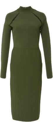 Lela Rose Open Knit-Trimmed Stretch-Knit Midi Dress