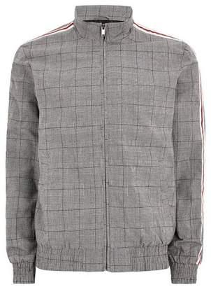 Topman Mens Mid Grey Dark Gray Checked Side Stripe Harrington Jacket
