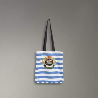 Burberry Archive Logo Striped Jersey Tote