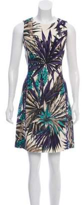 Fausto Puglisi Floral Wool Dress Indigo Floral Wool Dress