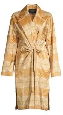Lafayette 148 New York Vincenza Silk Plaid Topper Coat