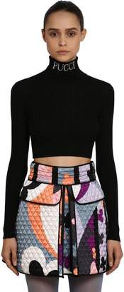 Emilio Pucci Cropped Wool Rib Knit Turtleneck Sweater