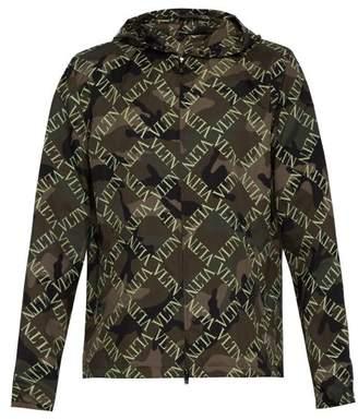 Valentino Vltn Slim Fit Camouflage Hooded Jacket - Mens - Khaki