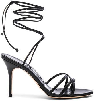 Manolo Blahnik Leather Leva 90 Sandals