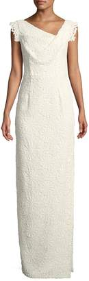 Black Halo Eve Jackie Anniversary Lace Column Gown, White
