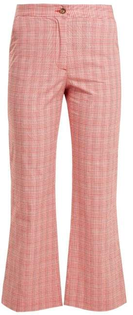 Checked cotton-blend flared trousers