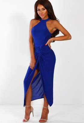 Pink Boutique Marbella Minx Cobalt Blue Slinky Twist Front Maxi Dress