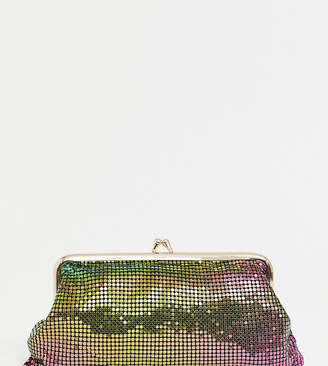 Reclaimed Vintage inspired iridescent metallic clutch bag with clasp