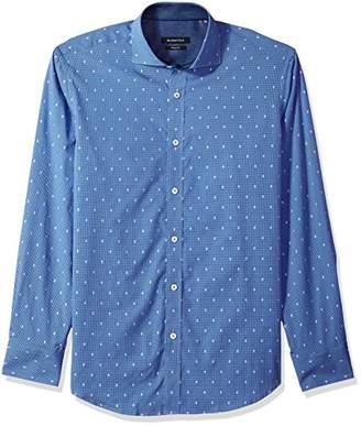Bugatchi Men's Cut Dobby Cotton Fitted Long Sleeve Sport Shirt