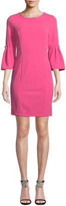 Neiman Marcus Scuba Crepe Pearly-Detail Sheath Dress